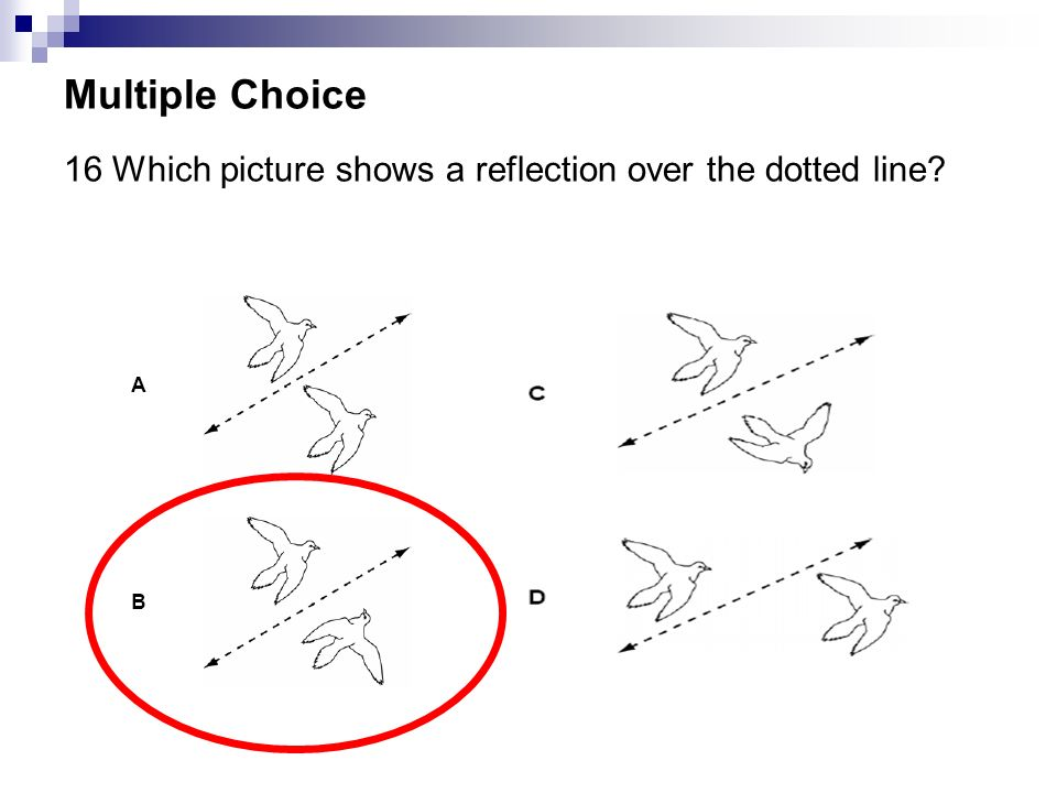 Multiple Choice 16 Which picture shows a reflection over the dotted line