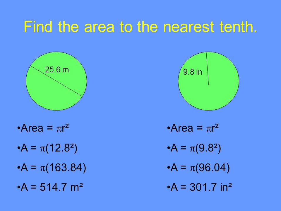 Find the area to the nearest tenth.