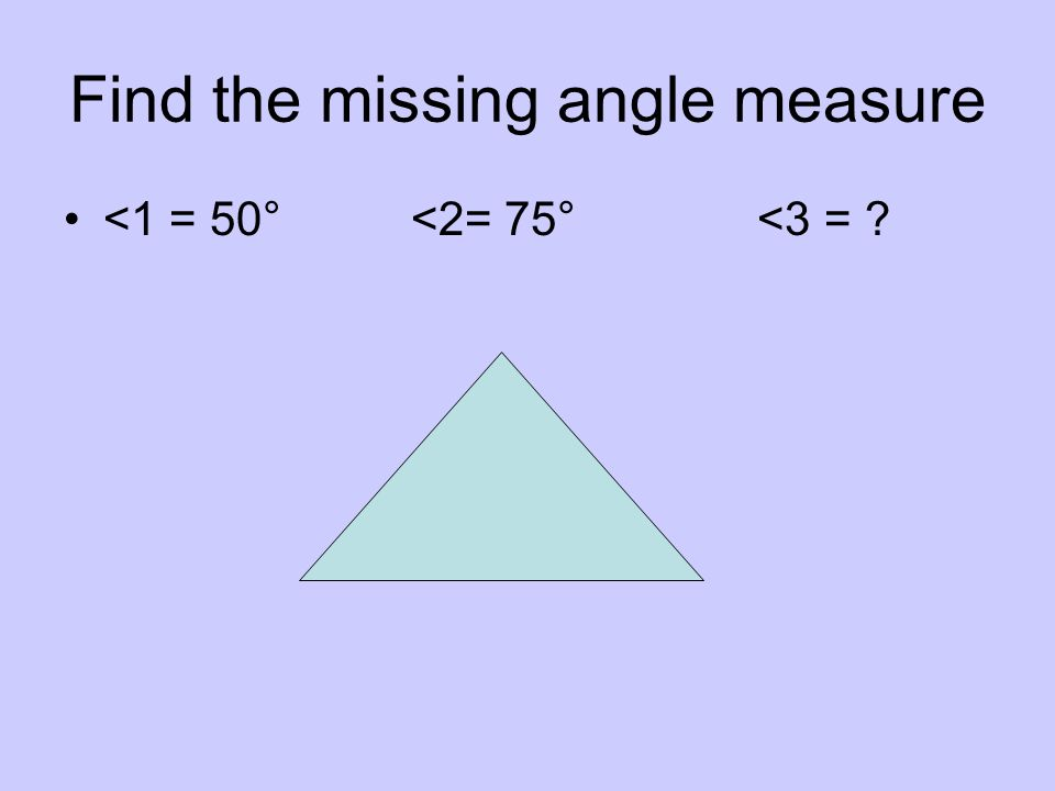 Find the missing angle measure