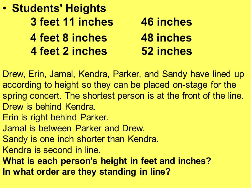 Students Heights 3 feet 11 inches 46 inches