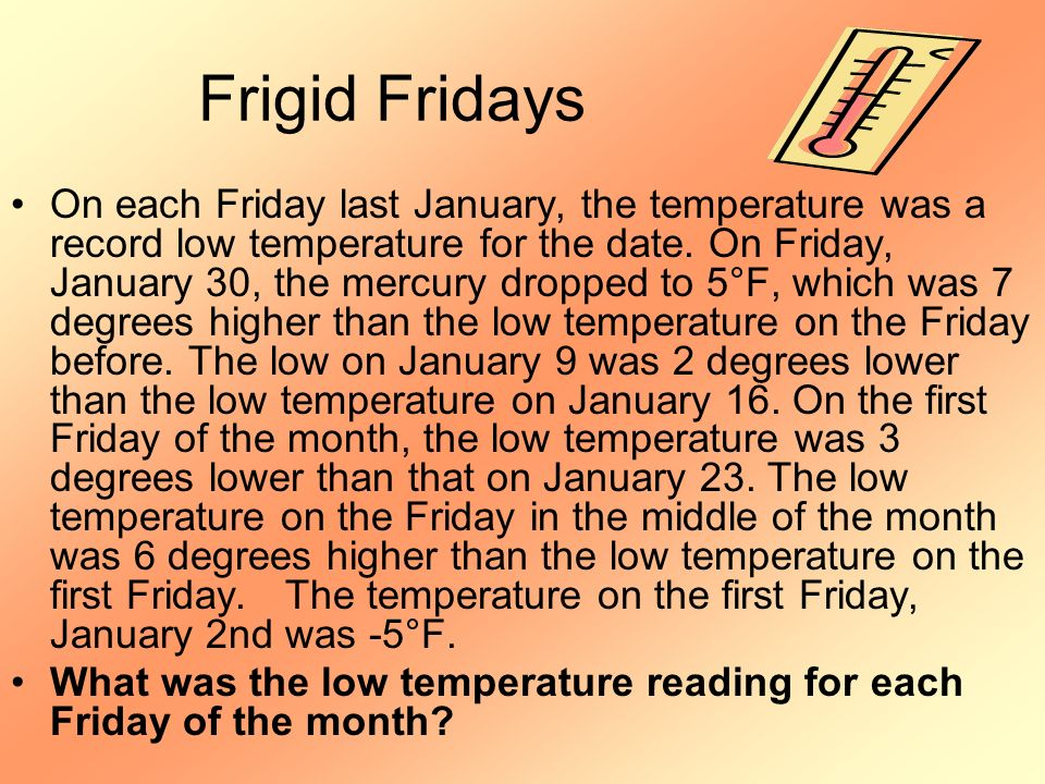 Frigid Fridays