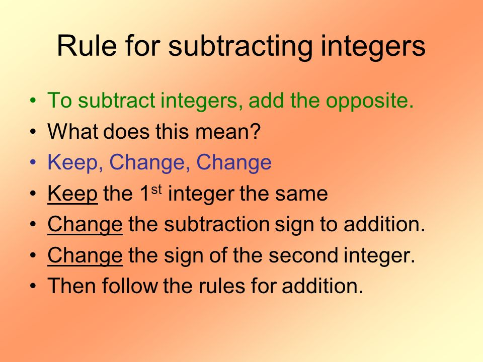 Rule for subtracting integers