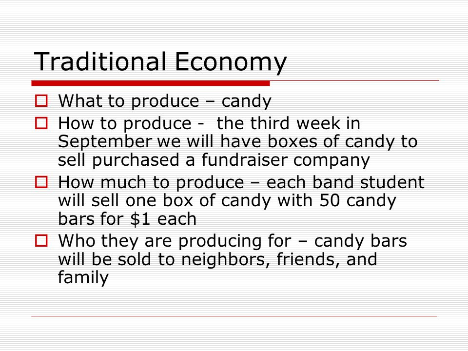 Traditional Economy What to produce – candy