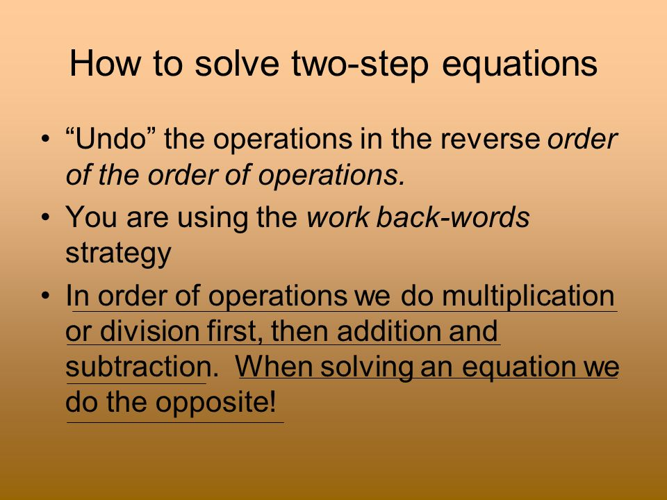 How to solve two-step equations