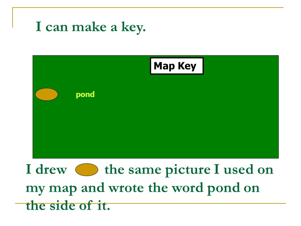 I can make a key. Map Key. pond.