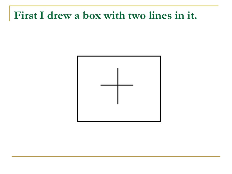 First I drew a box with two lines in it.