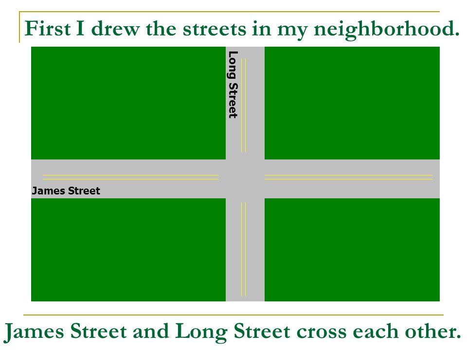 First I drew the streets in my neighborhood.