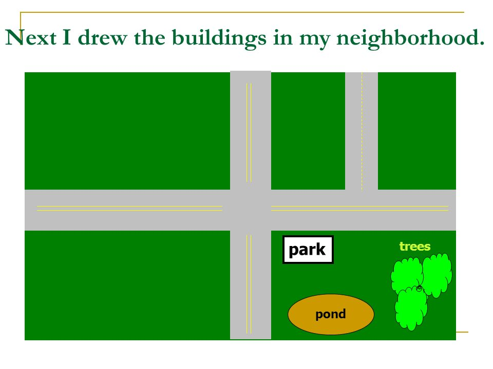 Next I drew the buildings in my neighborhood.