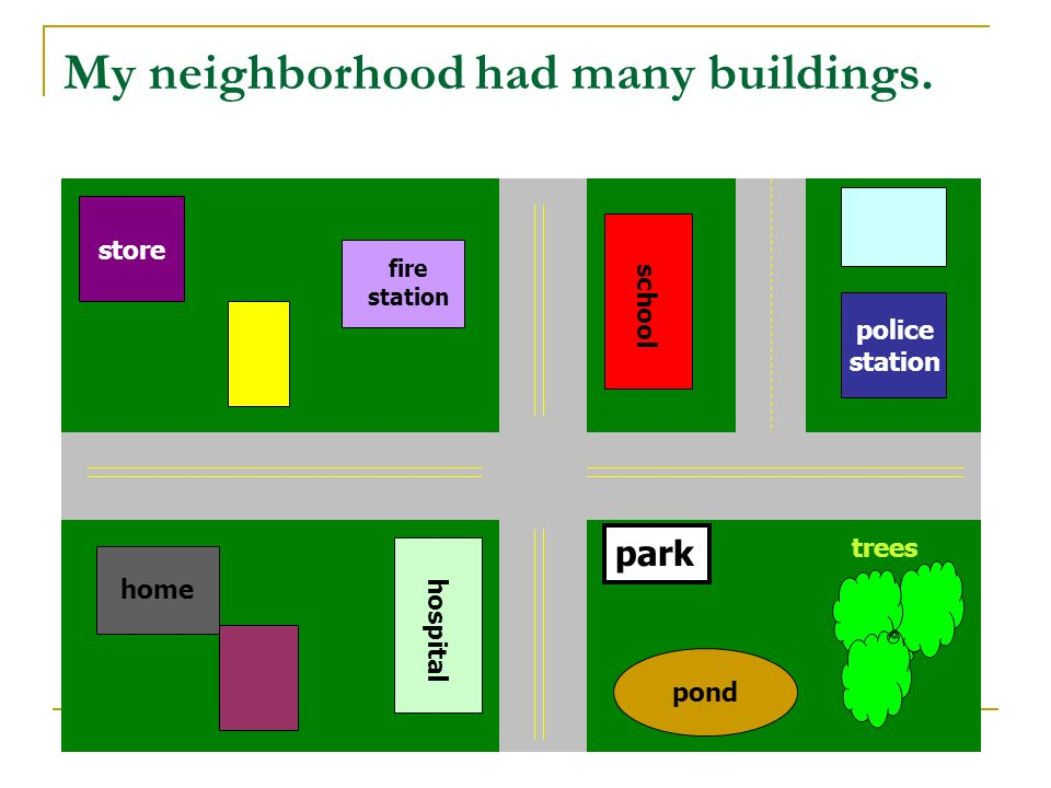 My neighborhood had many buildings.
