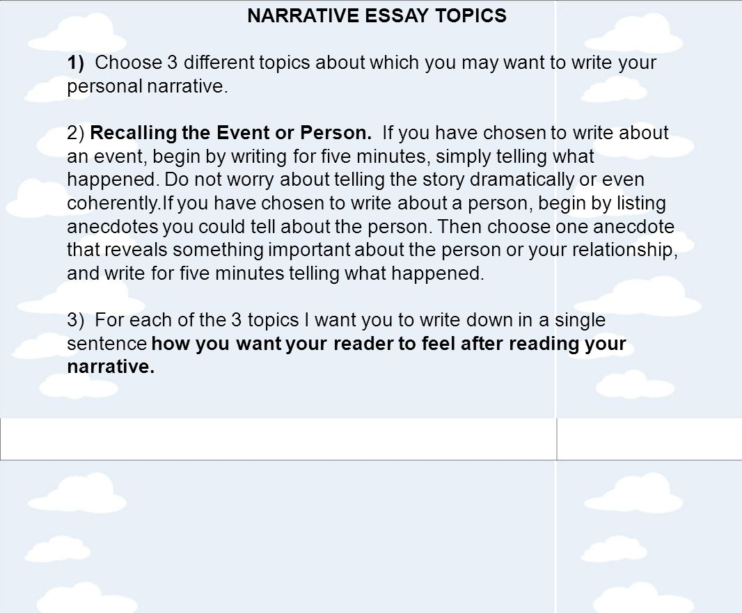narrative essay tips How to write a narrative essay i didn't really know how to write a narrative essay this article gives me so many tips of how to write a narrative essay.