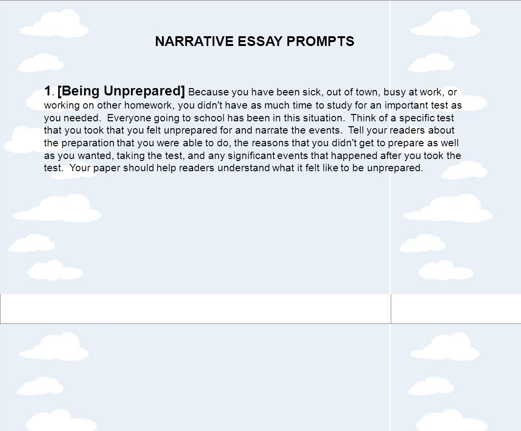 narrative essay being unprepared High school english teachers often begin the school year by assigning a personal narrative to their students a personal narrative is a nonfiction essay about your own experience.