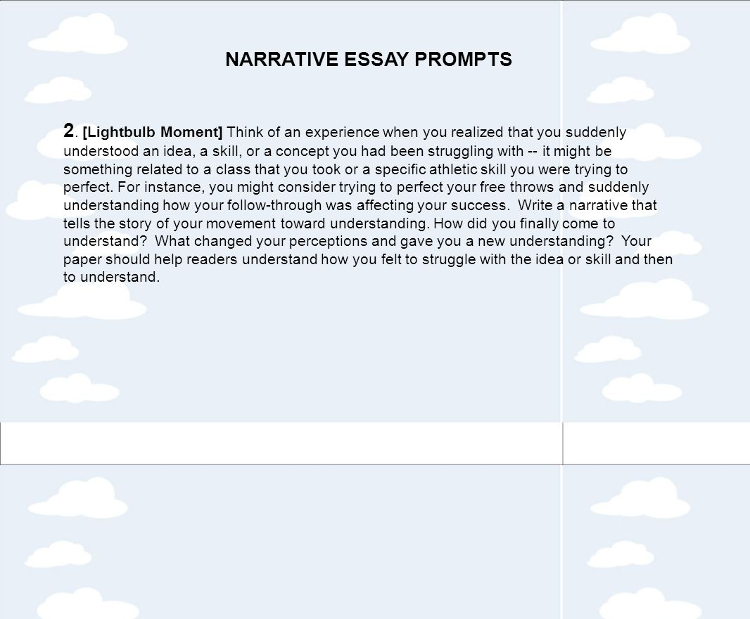 personal narrative essay questions Narrative essay topics a life experience is always a good idea for a narrative essay it is personal enough, it allows you to play with words.
