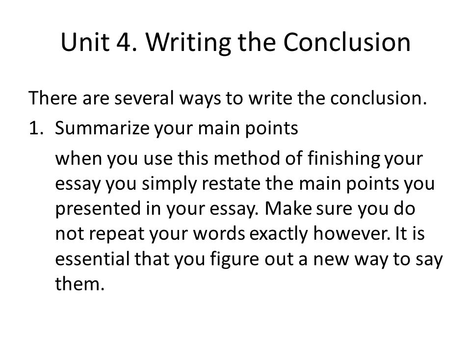 writing the conclusion in an essay