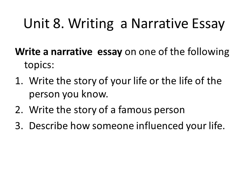 topics for narrative essay When students write narrative essays, they have the chance to share and reflect on something about themselves this lesson provides some topics.