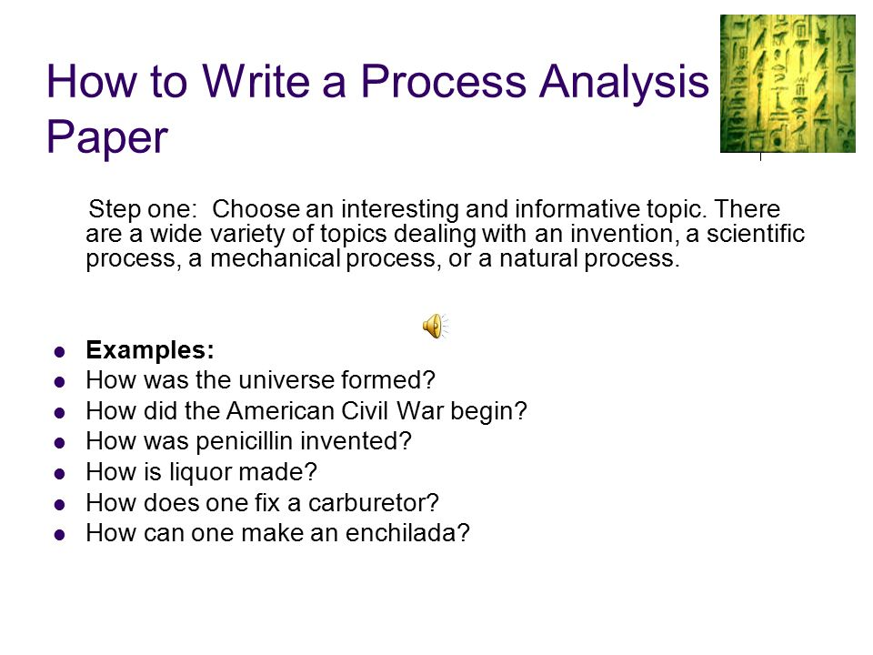process explanation essay Over 150 expository topic ideas includes inspiration for concept, definition, cause/ effect, how-to, and other essay types.