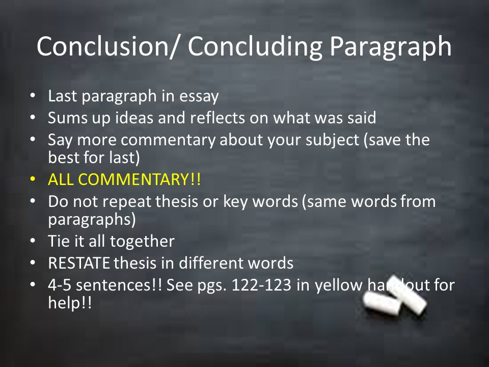 concluding paragraph thesis essay How to write a concluding paragraph for a persuasive essay persuasive essays introduce a hypothesis in the introduction and set out to prove it within the body of the text.