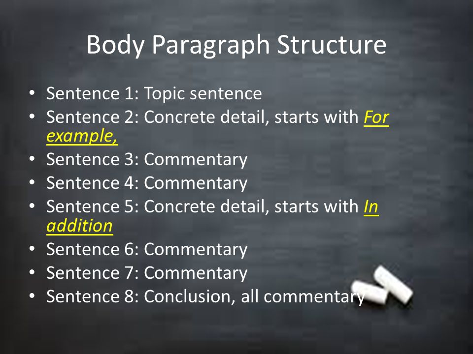 essay body paragraph structure Also, the basic structure of each of these paragraphs is the same as that which we have already studied in addition, the paragraphs in the us academic essay can be divided into three basic kinds: (1) the introductory paragraph, (2) the body paragraphs, and (3) the concluding paragraph the introduction.