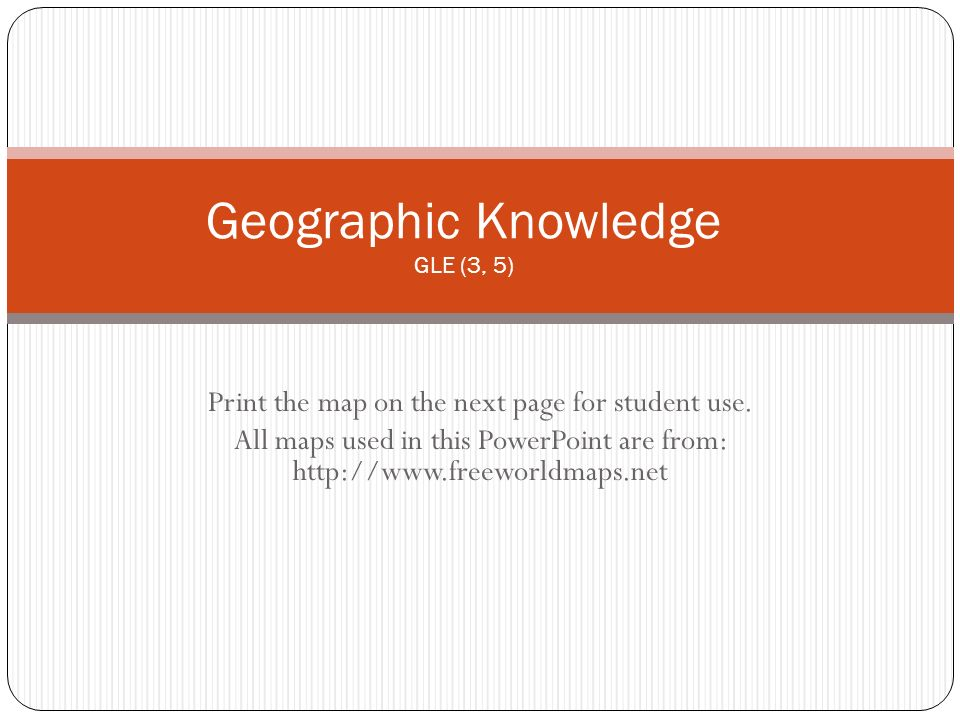 Geographic Knowledge GLE (3, 5)