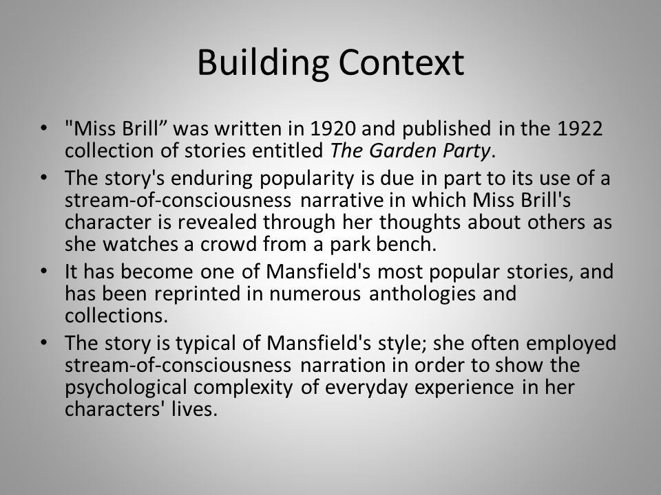 a short story on miss brill Somewhat awesome literary status with her short stories, miss brill as one of her representative pieces the interest of our chinese critics, in general,.
