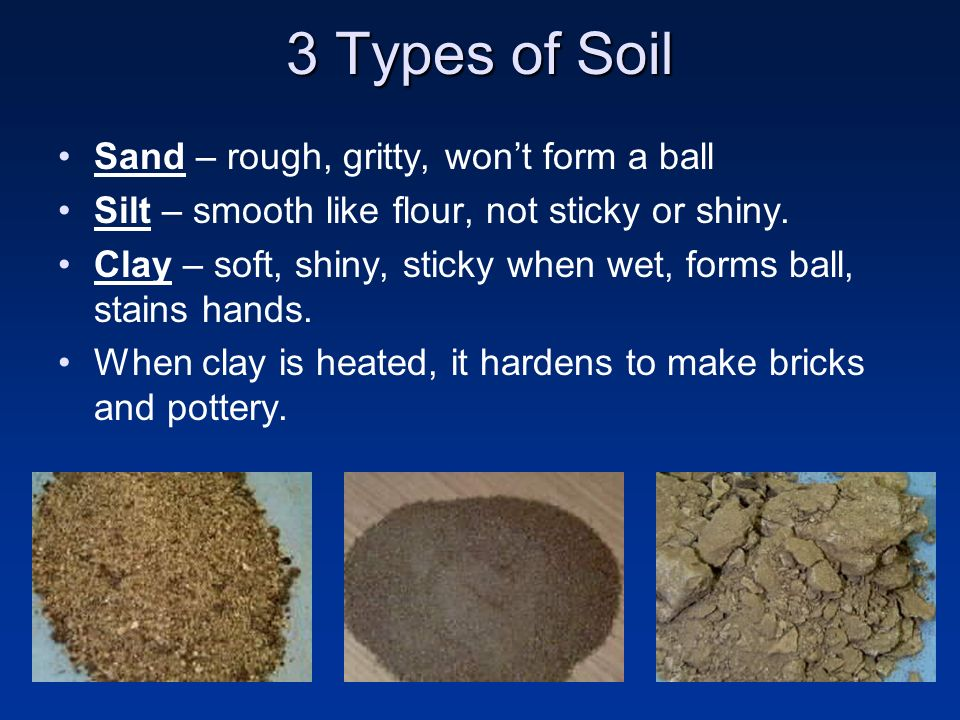 3 Types of Soil Sand – rough, gritty, won't form a ball