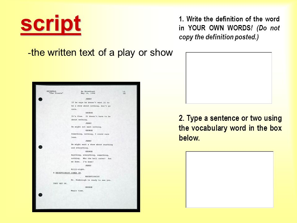 script the written text of a play or show