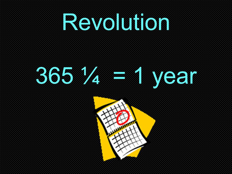 Revolution 365 ¼ = 1 year