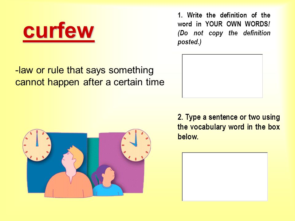 curfew law or rule that says something