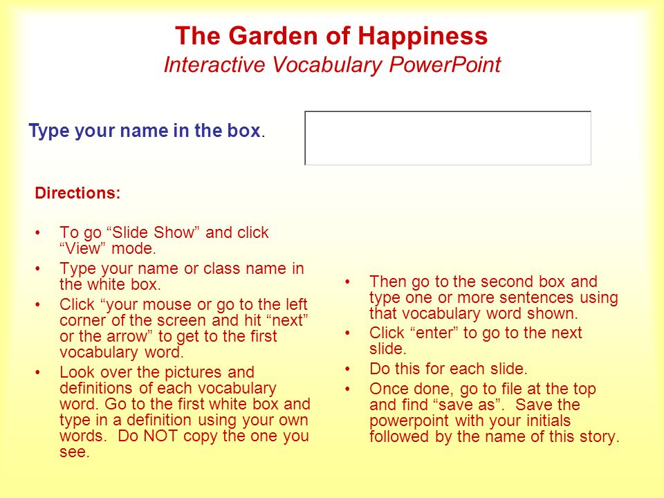The Garden of Happiness Interactive Vocabulary PowerPoint