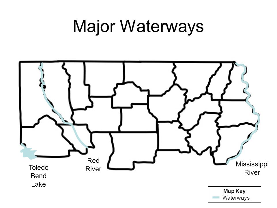 Major Waterways Red River Mississippi River Toledo Bend Lake Map Key
