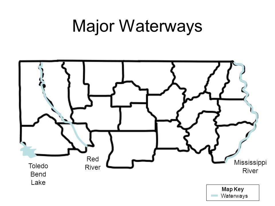 Major Waterways Red River Mississippi River Toledo Bend Lake Map Key