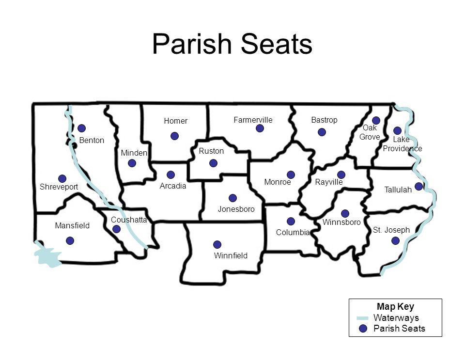 Parish Seats Map Key Waterways Parish Seats Homer Farmerville Bastrop