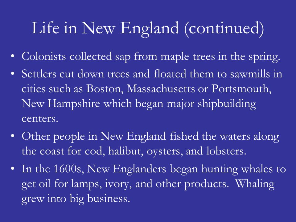 Life in New England (continued)