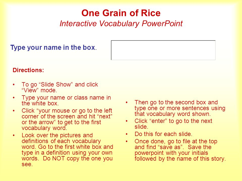 One Grain of Rice Interactive Vocabulary PowerPoint