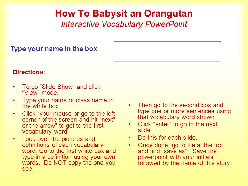 How To Babysit an Orangutan Interactive Vocabulary PowerPoint