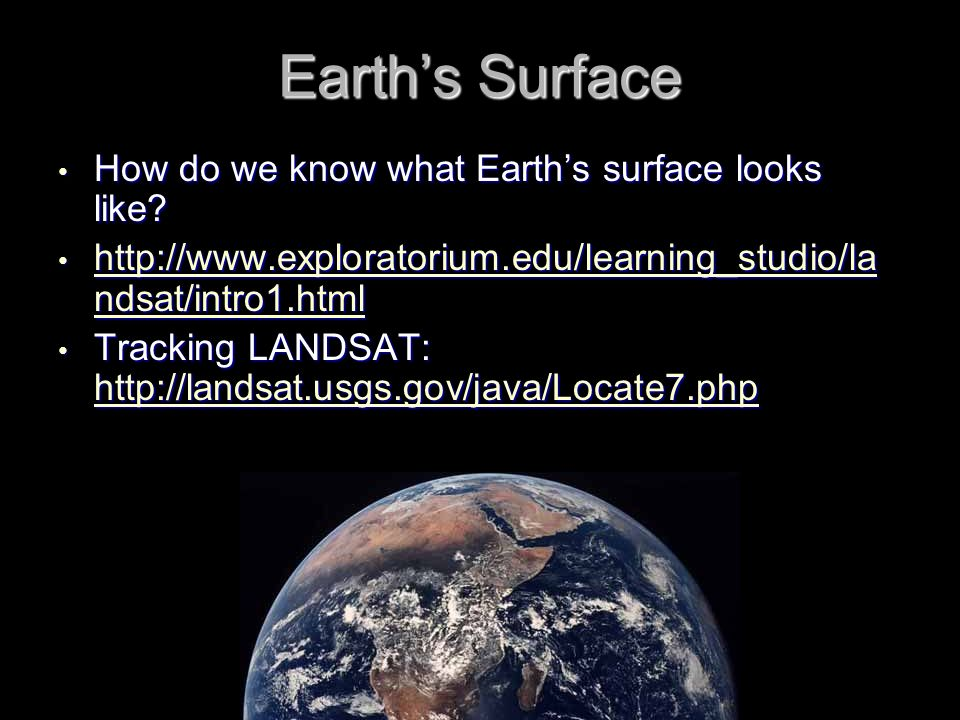 Earth's Surface How do we know what Earth's surface looks like