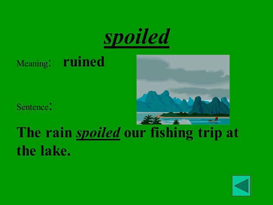 spoiled The rain spoiled our fishing trip at the lake. Meaning: ruined