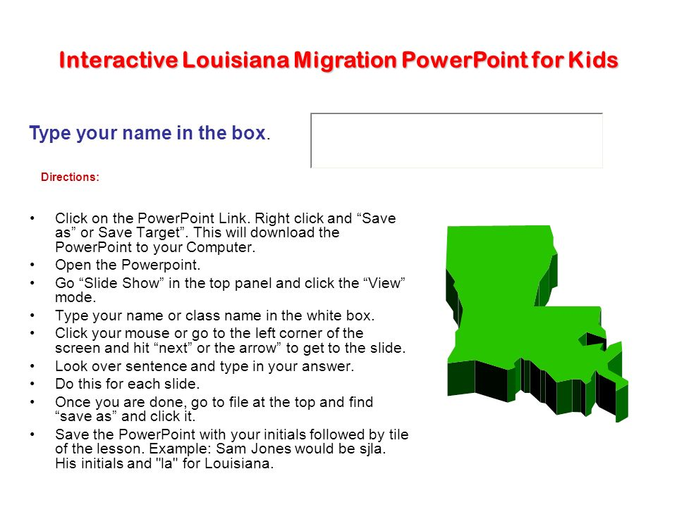 Interactive Louisiana Migration PowerPoint for Kids