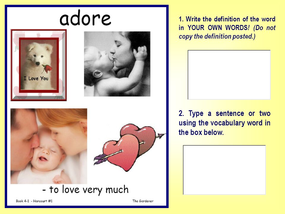 2. Type a sentence or two using the vocabulary word in the box below.