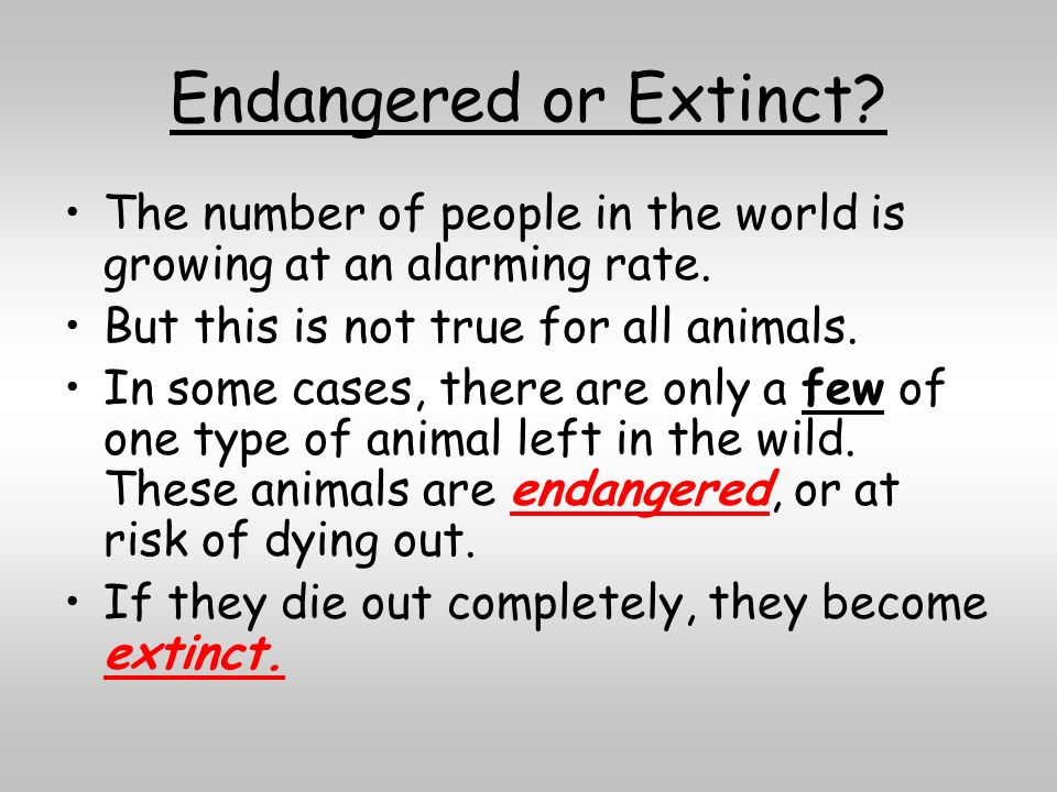Endangered or Extinct The number of people in the world is growing at an alarming rate. But this is not true for all animals.