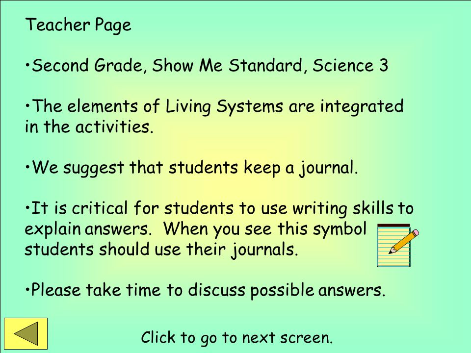 Second Grade, Show Me Standard, Science 3