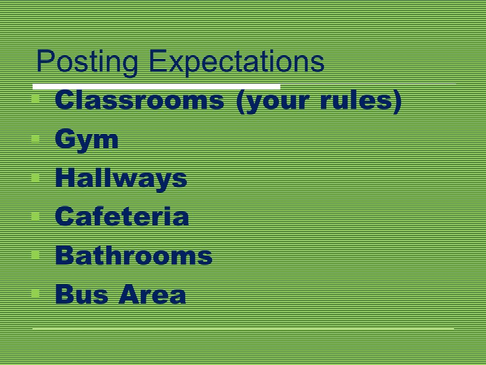 Posting Expectations Classrooms (your rules) Gym Hallways Cafeteria