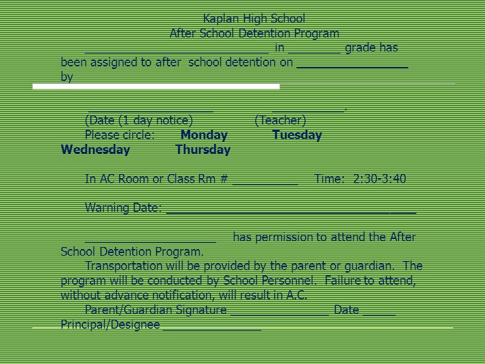 After School Detention Program