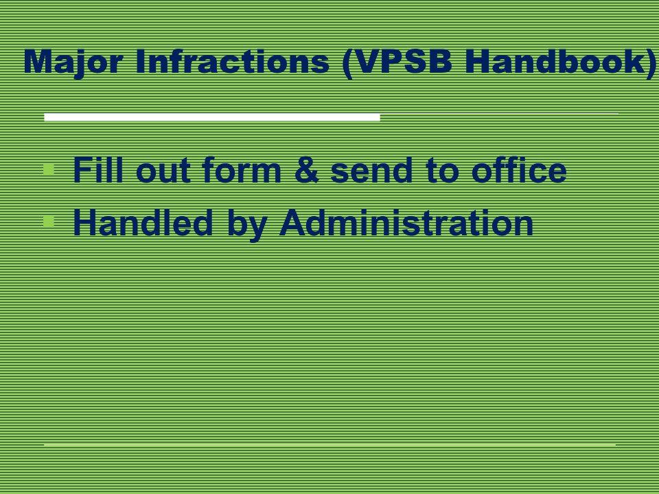 Major Infractions (VPSB Handbook)