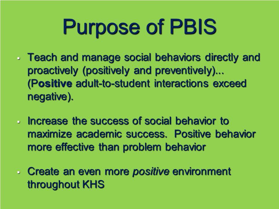 Purpose of PBIS