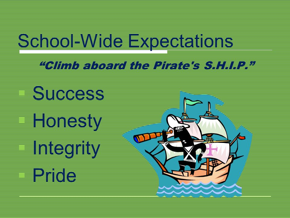 School-Wide Expectations Climb aboard the Pirate s S.H.I.P.
