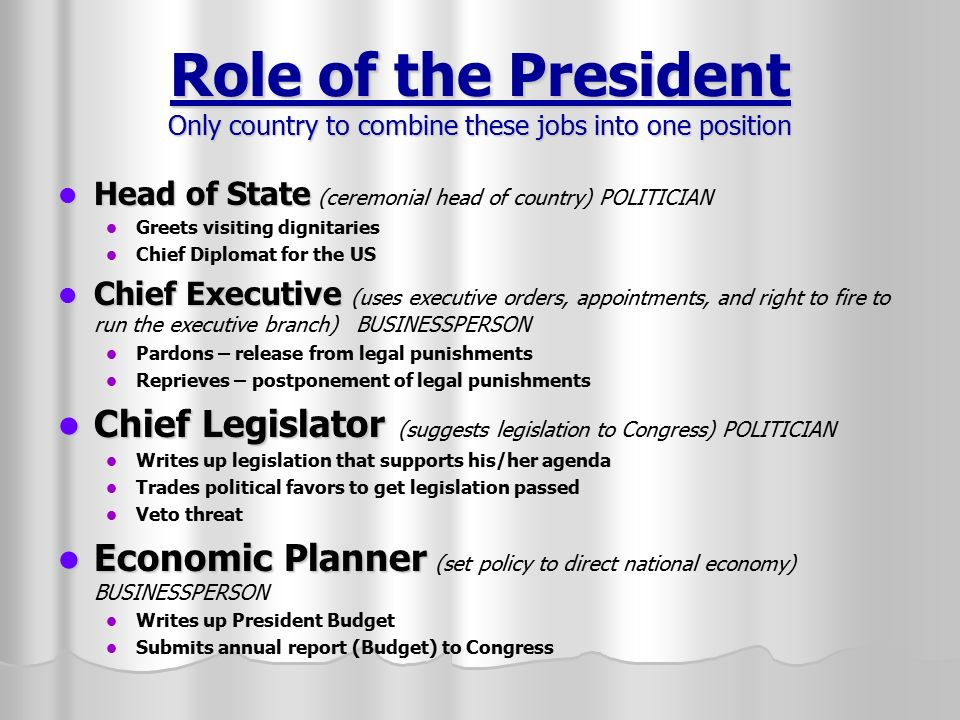 president roles A four part series on the different roles in a board of directors in an hoa this article we focus on the president role and what they focus on in the hoa.