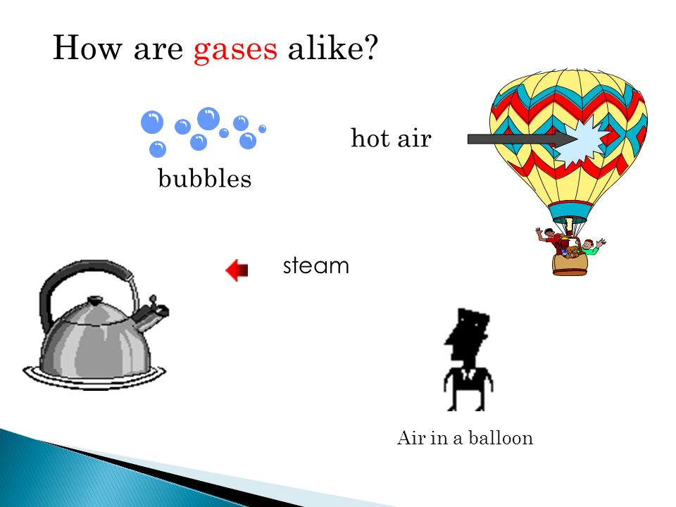 How are gases alike hot air bubbles steam Air in a balloon