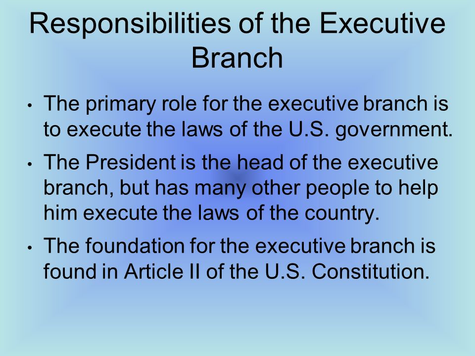the responsibilities and the roles of the president of the united states The president of the united states is one such leader as a nation, we place no greater responsibility on any one individual than we do on the president through these lessons, students learn about the roles and responsibilities of the president and their own roles as citizens of a democracy.