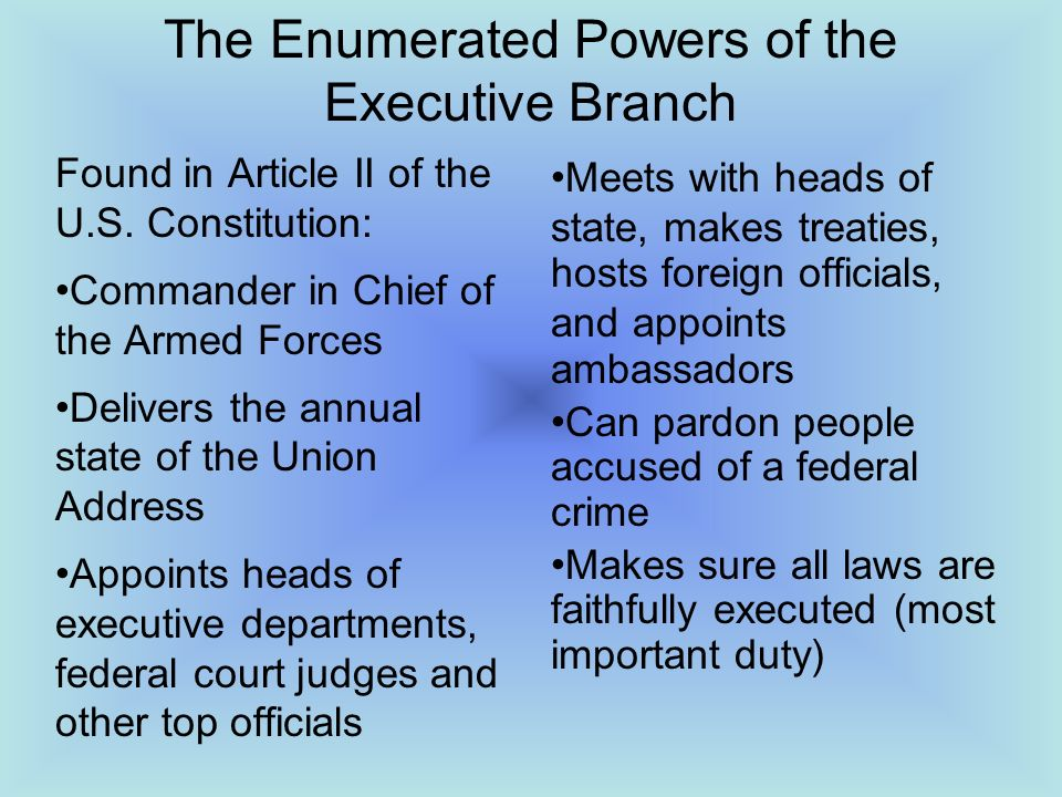 the powers of the executive branch essay Start studying unit review learn read this outline for an argumentative essay about which best describes how the executive branch affects the power of the.