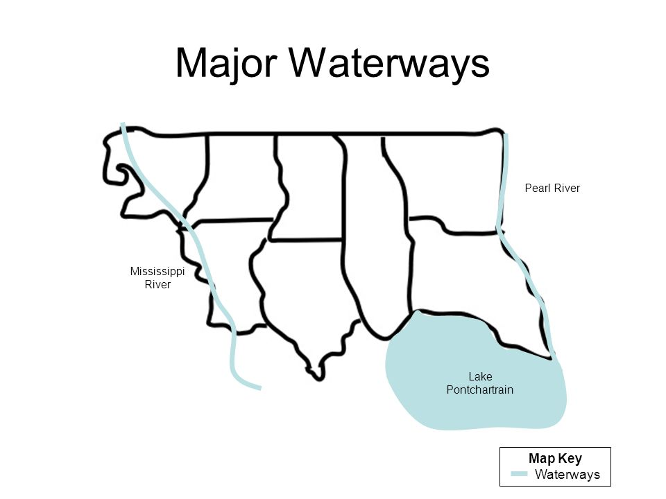 Major Waterways Map Key Waterways Pearl River Mississippi River
